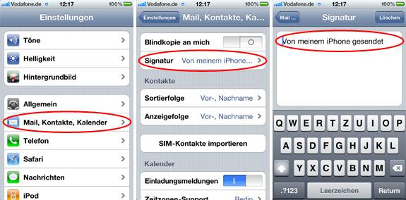 Image:Wie kann ich die Mailsignatur meines iPhone ändern?